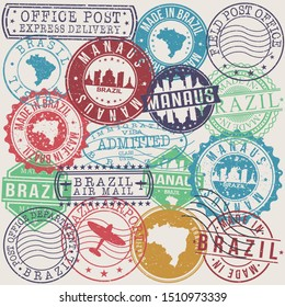 Manaus Brazil Set of Stamps. Travel Stamp. Made In Product. Design Seals Old Style Insignia.