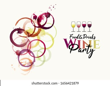 manchas de vino y marcas circulares de copas de vino.  Abstract illustration of grape cluster with different colored stains of pink, white and red wine. Wine glass icons. Vector