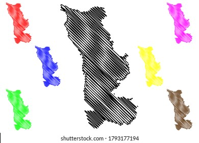 Manche Department (France, French Republic, Normandy or Normandie region) map vector illustration, scribble sketch Manche map