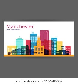 Manchester city architecture silhouette. Colorful skyline. City flat design. Vector business card.