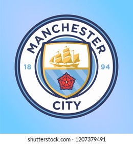 Manchester city England, Sep 2018: Manchester City Football Club logo vector template professional football club Manchester England based Etihad stadium