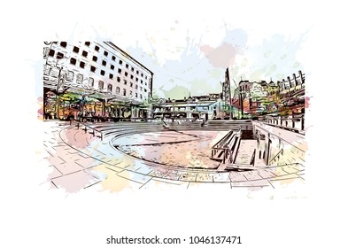 Manchester City in England, UK. Watercolor splash with Hand drawn sketch illustration in vector.