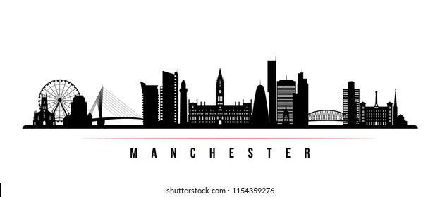 Manchester city skyline horizontal banner. Black and white silhouette of Manchester city, United Kingdom. Vector template for your design.