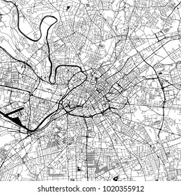 Manchester Downtown Vector Map Monochrome Artprint, Outline Version for Infographic Background, Black Streets and Waterways