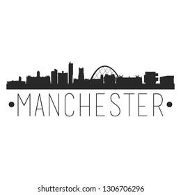 Manchester England. City Skyline. Silhouette City. Design Vector. Famous Monuments.