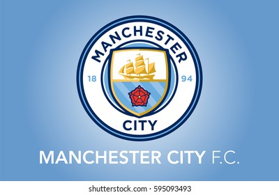 Manchester, England Feb 25, 2017:  Liverpool F.C. logo on nice blue background.