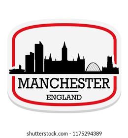 Manchester England Label Stamp Icon Skyline City Design Tourism
