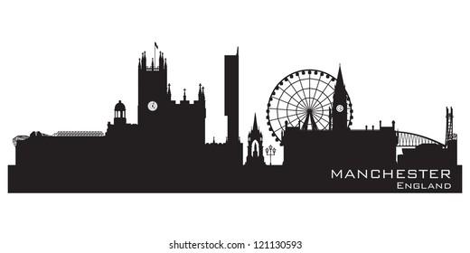 Manchester, England skyline. Detailed silhouette. Vector illustration