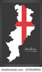 Manchester map with English national flag illustration