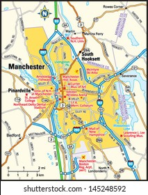 Manchester, New Hampshire area map