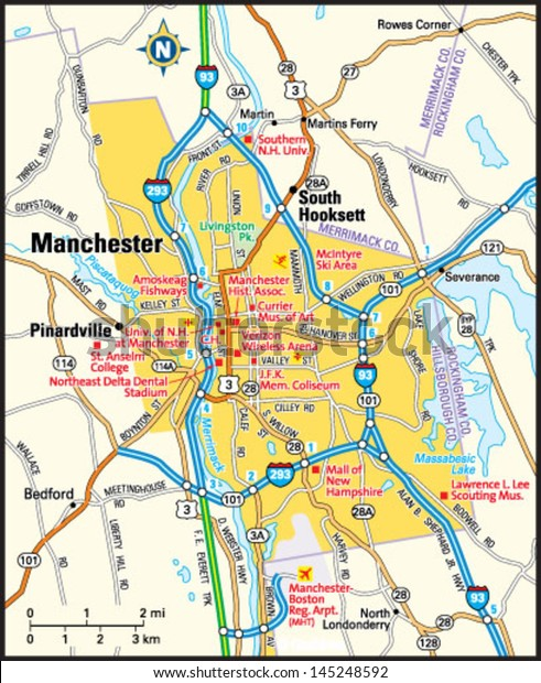 map of manchester new hampshire Manchester New Hampshire Area Map Stock Vector Royalty Free map of manchester new hampshire