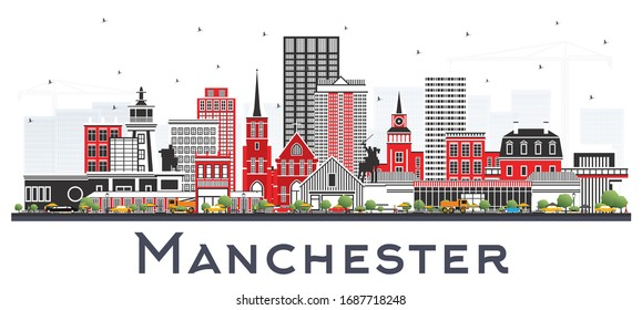 Manchester New Hampshire City Skyline with Gray Buildings Isolated on White. Vector Illustration. Business Travel and Tourism Concept with Historic and Modern Architecture. Manchester USA Cityscape.