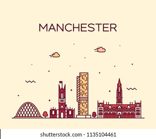 Manchester skyline, Greater Manchester, England, UK. Trendy vector illustration, linear style