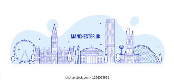 Manchester skyline, Greater Manchester, England, UK. This illustration represents the city with its most notable buildings. Vector is fully editable, every object is holistic and movable