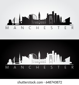 Manchester skyline and landmarks silhouette, black and white design, vector illustration.
