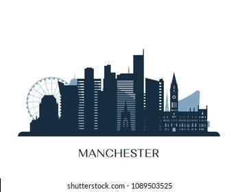 Manchester skyline, monochrome silhouette. Vector illustration.