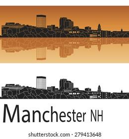 Manchester skyline in orange background in editable vector file