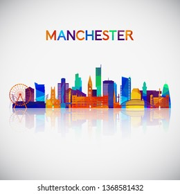 Manchester skyline silhouette in colorful geometric style. Symbol for your design. Vector illustration.