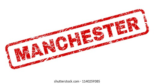 MANCHESTER stamp seal imprint with grunge style. Red vector rubber print of MANCHESTER text with grunge texture. Text tag is placed inside rounded rectangle frame.