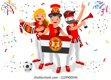 Manchester United fans, Manchester football club. Premier League champions or UEFA Europa tournaments. English soccer team fans, mancunians, with jerseys. Flat isometric illustration of vector crowd.