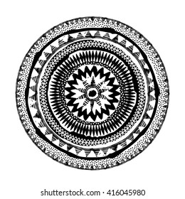 Mandala. Abstract ethnic round vector black and white ornament.