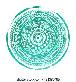 Mandala. Abstract round vector watercolor ornament