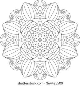 Mandala, adult coloring page, template, vector