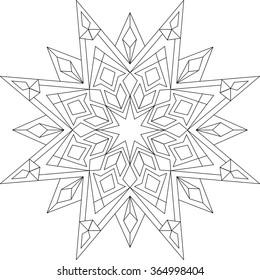 Mandala, Erwachsenenfarbseite, Vorlage, Vektorgrafik, zirkuläres Muster