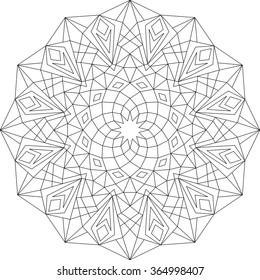Mandala, adult coloring page, template, vector, circular pattern