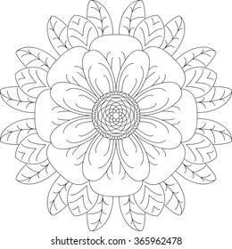 Mandala, adult coloring page, template, vector, circular pattern, flower