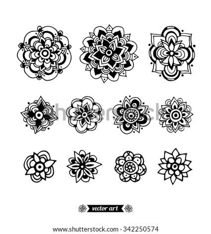Mandala Amazing Flower Mandala Symbols Vector Stock Vektorgrafik