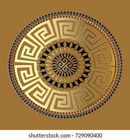 Mandala. Ancient geometric ornament. Vector gold black meander pattern. Meander  background. Antique 3d mandala with greek key ornaments. Ornamental design. Graphic icon. Geometric abstract texture
