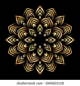 Mandala. Arabesque. Gold round pattern on black background. Vector illustration.
