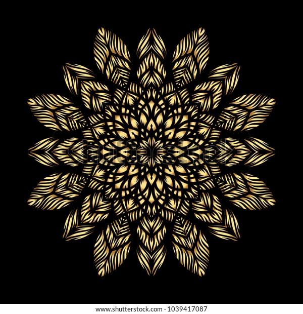 Mandala. Arabesque. Gold round pattern on black background. Vector illustration.