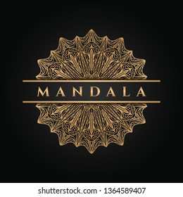 Mandala art design ornamental logo inspiration elegant background in gold color