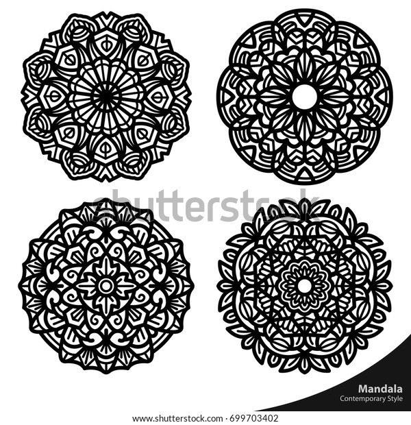 Mandala Art Shapes Nature Easy Editable Stock Vector