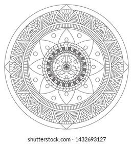 Mandala art vector design. Vintage decorative elements. Oriental pattern, vector illustration. Islam, Arabic, Indian, moroccan,spain, turkish, pakistan, chinese, mystic. Yoga Coloring book page