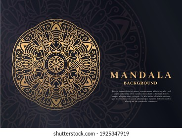 mandala background in black and gold color