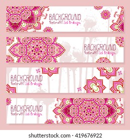 Mandala. Backgrounds set for design. Vector artwork. Ethnic, hand drawn. Islam, Arabic, Indian, ottoman motifs.
