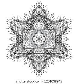 Mandala. Beautiful vintage round pattern. Hand drawn abstract background. Decorative retro banner isolated. Invitation, t-shirt print, wedding card.Tattoo, astrology, alchemy, boho and magic symbol.