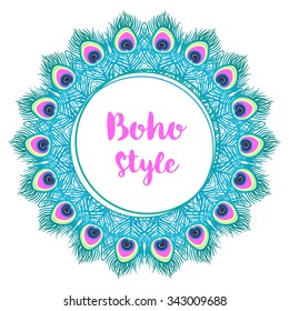Mandala. Beautiful vintage round pattern. Hand drawn abstract background. Decorative retro banner isolated. Invitation, t-shirt print, wedding card, scrapbooking. Tattoo element. Peacock feather