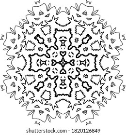 Mandala. Black and White Pattern. Vintage decorative elements. Hand drawn background. Arabic, Islam, Indian. Vector illustration
