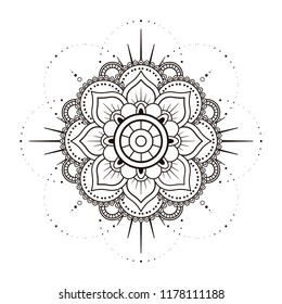 Mandala in black and white, relax patterns
