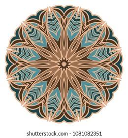 Mandala. Blue, red, purple color flower ornament. Vector illustration