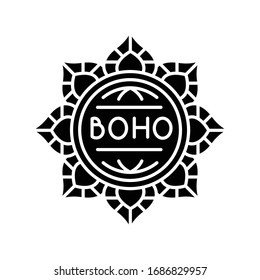 Mandala, boho flower black glyph icon. Floral decorative esoteric element in bohemian style. Indian abstract lotus, oriental sign. Silhouette symbol on white space. Vector isolated illustration