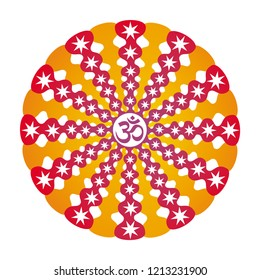 Mandala in bright colors with the Aum / Ohm / Om sign in the center and stars. Spiritual symbol. Vector graphics.