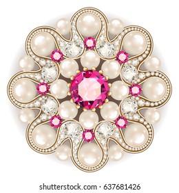 Mandala brooch jewelry, design element.  pearl vintage ornamental background.