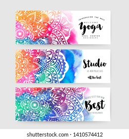 Mandala cards design.Ethnic Mandala ornament. Colorful ornamental ethnic banner set. Mandala cards over colorful watercolorbackdrop. Vector illustration for congratulation or invitation