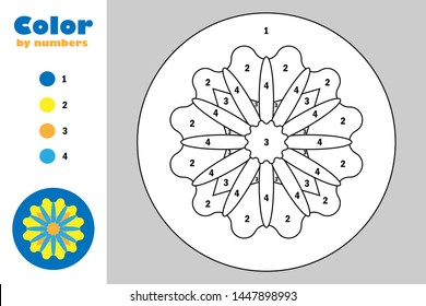 Mandala in cartoon style, color by number, education paper game for the development of children, coloring page, kids preschool activity, printable worksheet, vector illustration