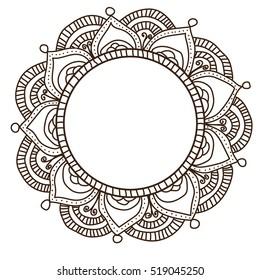 Mandala Circle Pattern Isolated on White